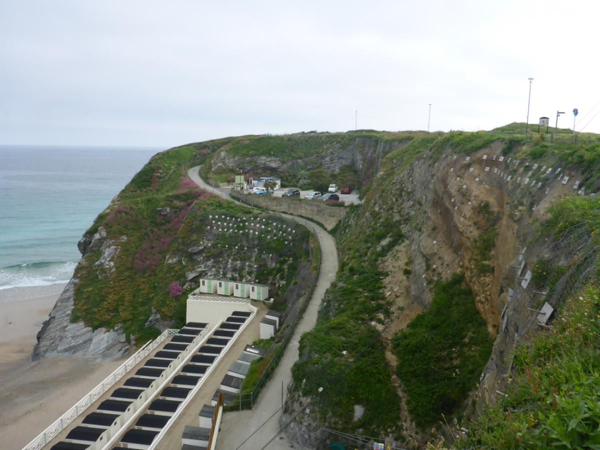 Completed cliff stabilsation works, Tolcarne, Newquay