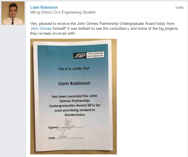Liam Robinson JGP Undergraduate Award
